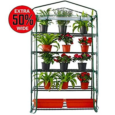 Worth Extra Wide 5 Tier Mini Greenhouse 75'' High x 40'' Long x 19'' Wide, Portable Plant Tower Indoor or Outdoor Plant & Wheatgrass Growing Stand