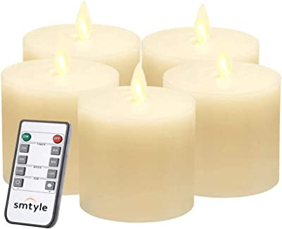 smtyle Battery Operated Candles 3x3 inch Pillar for Fireplace Candelabra Desk Decor Flickering Led Light with Fake Moving Flame Wick Bright with Remote Control Timer Ivory Flat Top 5