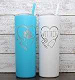 Personalized Veterinarian Laser Engraved 20 oz Tumbler with Straw, Vet Tech, Vet Gift, Vet Tech Gift, Vet Assistant