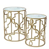 Gold Round Small Nesting Side End Coffee Tables Set of 2 with Glass Top for Living Room Bedroom