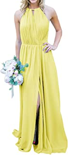 Jonlyc A-Line Halter Chiffon Long Wrap Bridesmaid Dresses with Slit