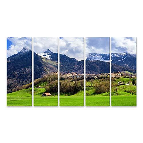 islandburner Quadro Stampa su Tela Quadri Moderni Città Gruyeres, Nota per Il Suo Formaggio Groviera di FAMA Mondiale, Che giace sulla Cima di Una collina nelle Montagne delle Alpi, Svizzera UMU