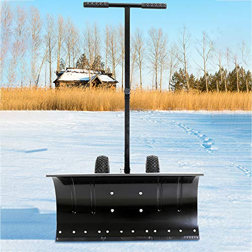 Great Deal! Goujxcy Adjustable Wheeled Snow Pusher, Heavy Duty Rolling Snow Plow Shovels, Efficient ...