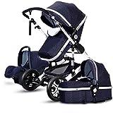 NLRHH 3 en 1 Sistema de Viaje de Cochecito Plegable Cochecito de bebé, Cochecito de Carro Convertible Compacto, arnés de 5 Puntos y Canasta de Alto Almacenamiento (Color: Denim Azul) Peng