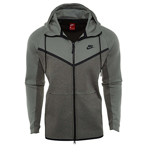 Nike Sportswear Tech Fleece Full Zip Up Hoodie Dark Stucco Heather Black 885904-004