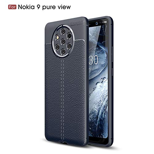 Cruzerlite Nokia 9 PureView hülle, Flexible Slim Hülle with Leather Texture Grip Pattern and Shock Absorption TPU Cover Schutzhülle für Nokia 9 PureView (Blue)