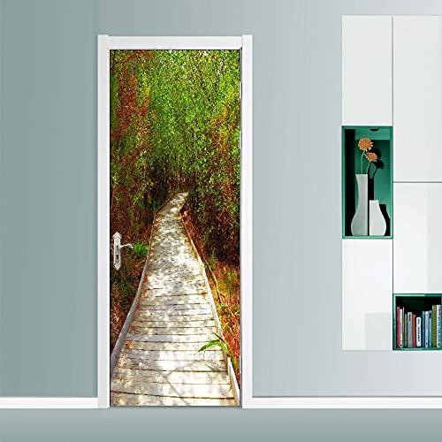 DFKJ Natura Fiori e alberi Paesaggio Adesivi per Porte autoadesivi Impermeabili Decorazione artistica Carta da parati Decorazioni per la casa Stampa immagini A10 95x215 cm
