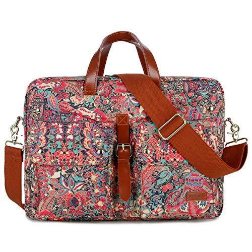 BAOSHA Frauen Laptoptasche 17 Zoll Aktentasche Damen Schultertaschen Arbeitstasche Businesstasche Multicompartment BC-07 (Mehrfarben Drucken HS)