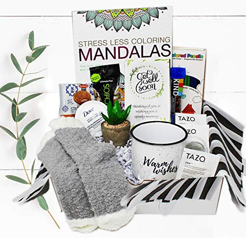 GET WELL SOON Gift basket for women CARE PACKAGE, After Surgery or Injury Recovery, feel better soon gift package cancer, encouragement hospital w/ Self Care & Snacks Stress Relief Gift, Encouragement