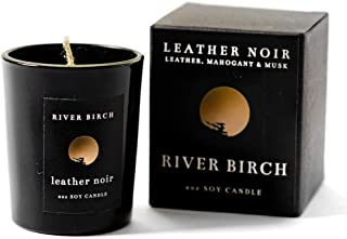 River Birch Candles LLC Leather Noir Soy Candle – Leather & Mahogany Scented Luxury Candle – Eco-Friendly Vegan Wax – Long Lasting Fragrance (2 Oz, Leather Noir)