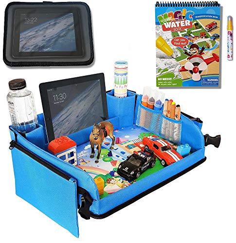 Kids Car Seat Travel Tray (Blue) + Bonus Water Coloring Book + Bonus Car Headrest Tablet Holder |Activity & Stroller Lap Tray