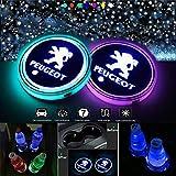 VILLSION LED 車内 カップホルダー マット 7色充電式車 ドリンクホルダー車室内装飾ライト(プジョー)
