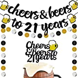 21 Years Anniversary Decorations - Cheers to 21 Years Banner with 21th Years Old Cake Topper Black Glittery Circle Dots Garland for 21th Birthday Wedding Party Supplies Decorations - PRESTRUNG