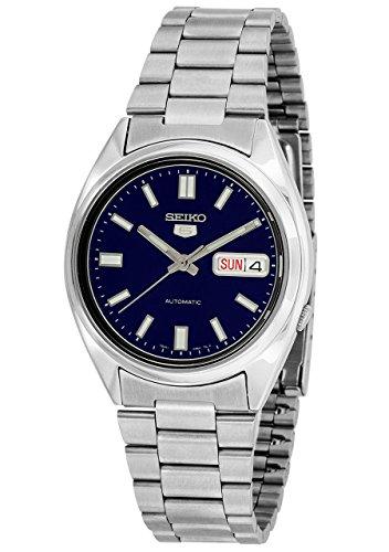 Reloj masculino automático Seiko 5, con esfera analógica en azul y correa de acero inoxidable plateado, SNXS77