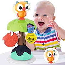 HISTOYE Owl High Chair Toys with Suction Cups for Baby Toys 6 to 12 Months Developmental Baby Tray Rattles Toy for Baby Infants Toddlers 6 9 12 Months and Up Gifts for 1 2 Year Old Girl Boy