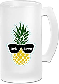 Pineapple With Sunglasses Beer Mugs With Handle, 16 OZ / 500 ML Large Pub Beer Glass For Freezer