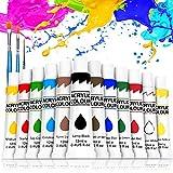Buluri Kit di 12 Colori Acrilici, Colori Acrilici per Dipingere da 12 ml, Colori Acrilici Set Pittura per Bambini Miscelabili per Arte e Fai-da-Te su Vetro, Legno, Ceramica, Tessuti, Carta e Tela