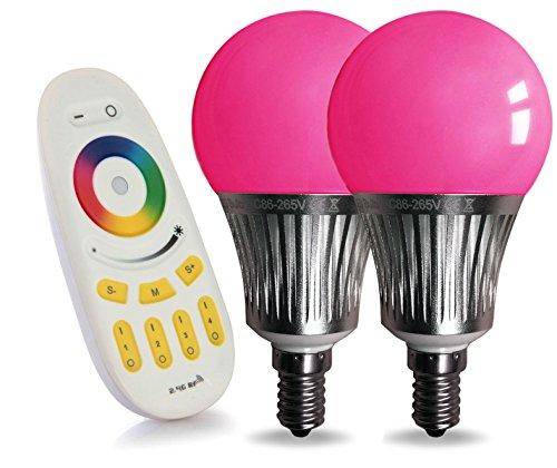LIGHTEU, 2x WLAN LED Lampe original LIGHTEU® Color RGB- Warm Weiß und kaltweiß, 5 Watt, E14, dimmbar, Farbwechsel Glühbirne mit 4 LIGHTEU zonen Fernbedienung, Farbtemperatur einstellbar