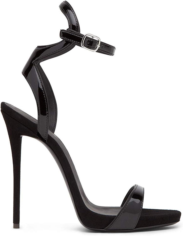 Women Ankle Strap Sandals High Heel shoes Stiletto Heeled Buckle Peep Toe Platform Party Dress Evening Black Size 3-12