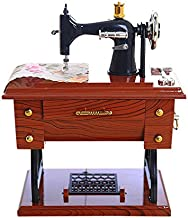 Wotryit Vintage Music Box Mini Sewing Machine Style Mechanical Birthday Gift Table Decor