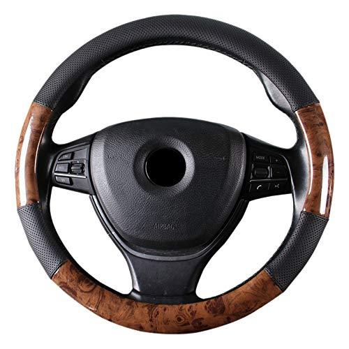 Fransande - Funda para volante de coche de lujo de madera de caoba, funda de dirección de piel sintética