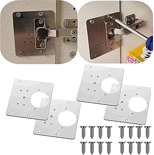 Cabinet Hinge Repair Plate with Hole,Hinge Side Plate Repair Piece with Mounting Screws for Cabinet Furniture Drawer Window Stainless Steel Plate Repair Accessory 3.9X3.5 inch