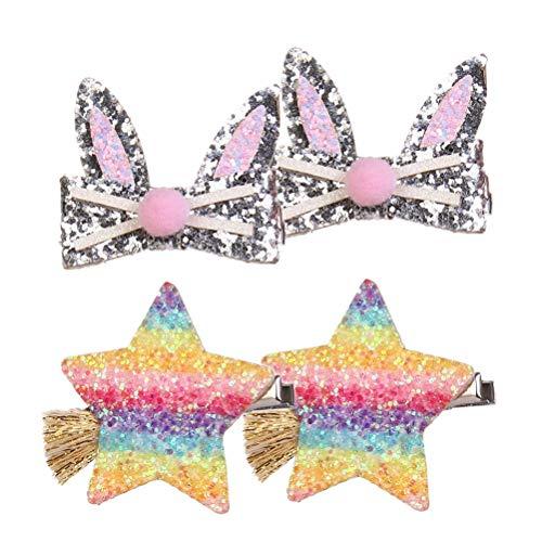 Lurrose Lot de 4 barrettes à cheveux en forme d'étoile et d'oreilles de lapin pour enfants