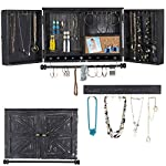 Rustic Wall Mounted Jewelry Organizer with Wooden Barndoor Decor. Jewelry holder for Necklaces, Earings, Bracelets, Ring Holder, and Accessories. Includes hook organizer for hanging jewelry (Black) 5
