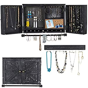 Rustic Wall Mounted Jewelry Organizer with Wooden Barndoor Decor (Black) – EGP-HD-0153