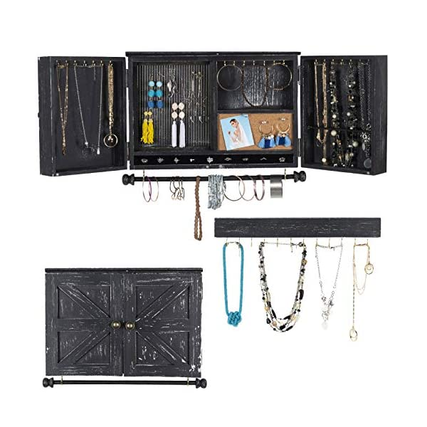 Rustic Wall Mounted Jewelry Organizer with Wooden Barndoor Decor. Jewelry holder for Necklaces, Earings, Bracelets, Ring Holder, and Accessories. Includes hook organizer for hanging jewelry (Black) 2