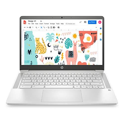 HP Chromebook 14a-na0003TU 14-inch (35.56 cms) Thin & Light Touchscreen Laptop (Intel N4020/4GB/64GB SSD + 256GB Expandable/Chrome OS/1.46 kgs Light), Mineral Silver