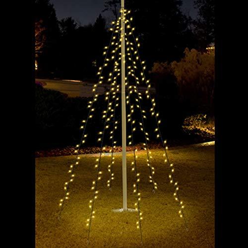 Lichterkette 400 LEDs Warmweiß 8m für Fahnenmast Baum Außenbeleuchtung Kegel Weihnachten