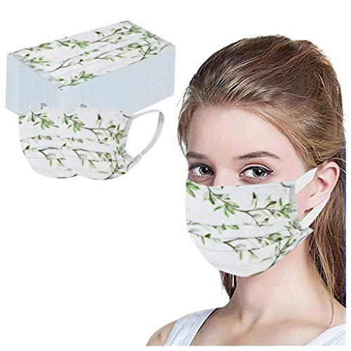 JSPOYOU 50PC Disposable Unisex Printed White Soft For Adults 3-Layer 50PCS
