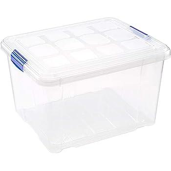 PLASTIC FORTE, Caja de almacenamiento, TRANSPARENTE, 25 Litros, sin ruedas: Amazon.es: Hogar