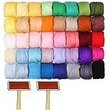 CODIRATO 40 PCS Fieltro de Lana Suave, Bolas de Fieltro con 2 Peines Pompones de Fieltro para Manualidades de Bricolaje (40 Colores)