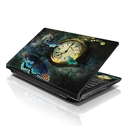 """LSS 15 15.6 inch Laptop Notebook Skin Sticker Cover Art Decal Fits 13.3"""" 14"""" 15.6"""" 16"""" HP Dell Lenovo Apple Asus Acer Compaq (Free 2 Wrist Pad Included) Clock Butterfly"""