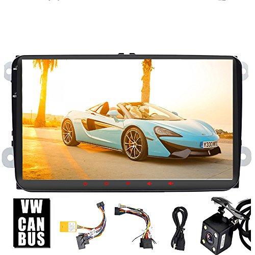 pour Volkswagen 9inch HD Head Unit Android 9.0 Quad-Core Navigation GPS de Voiture Radio stéréo Bluetooth FM AM RDS écran Link Dab + auxiliaire SWC WiFi pour Bora Jetta Tiguan Golf Polo