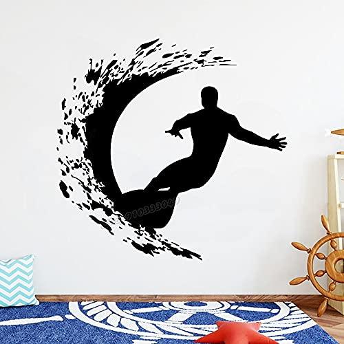 Surf calcomanías de pared calcomanías de tablas de surf vinilo deportes niños surf pegatinas de pared deportes de windsurf habitación de los niños decoración del dormitorio del hogar 57X59cm