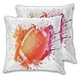 DECISAIYA Throw Pillow Covers Pack of 2,Rugby Ball in Digital Watercolors Splash Recreational Leisure Sports Run Design,Square Pillowcases Cushion Cover for Sofa Bedroom Car Decoration 22x22 inch