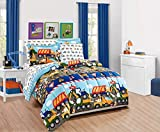 Elegant Home Multicolor Construction Site Equipment Trucks Tractors Design 7 Piece Comforter Bedding Set for Boys/Kids Bed in a Bag with Sheet Set # Construction Trucks (Full Size)