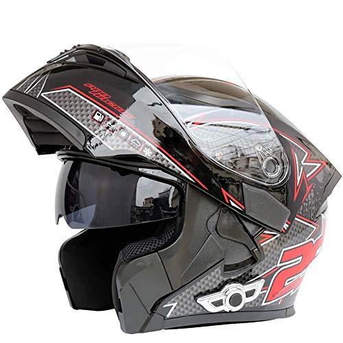 Cascos Integrales Bluetooth para Motocicleta Sistema Comunicación De Intercomunicación Integrado Integrado, Casco Modular Abatible hacia Arriba con Doble Visera Antivaho Motocross,Púrpura,L