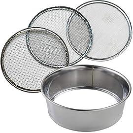 Hanafubuki Wazakura 3PCS Soil Sieve Set 8-1/4inch(210mm), Made in Japan, 3 Sieve Mesh Filter Sizes, Japanese Bonsai… 1 Size: φ8.26 x H 2.55 in (φ210mm x 65mm)   Sieve mesh sizes: 0.04 in (1mm) 0.11 in (3mm) 0.19 in (5mm)   Weight: 8.6oz (245g)   Material: Frame - Stainless steel, Sieve mesh - Iron Made in Japan