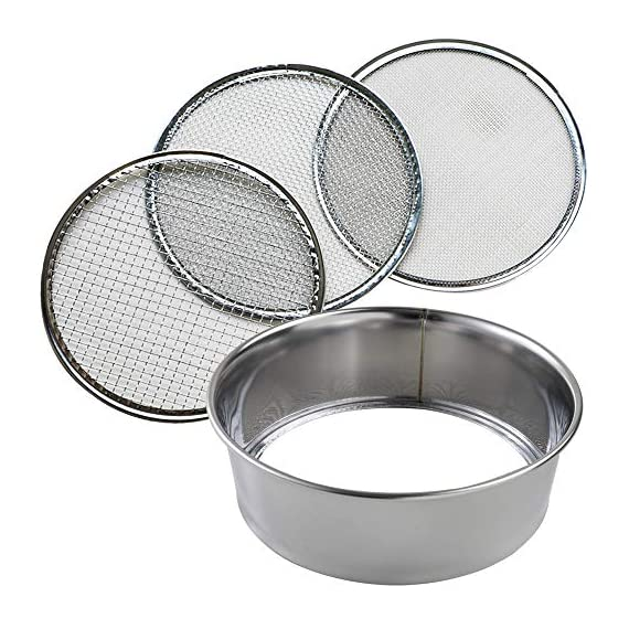 Hanafubuki wazakura 3pcs soil sieve set 8-1/4inch(210mm), made in japan, 3 sieve mesh filter sizes, japanese bonsai… 1 size: φ8. 26 x h 2. 55 in (φ210mm x 65mm)   sieve mesh sizes: 0. 04 in (1mm) 0. 11 in (3mm) 0. 19 in (5mm)   weight: 8. 6oz (245g)   material: frame - stainless steel, sieve mesh - iron made in japan
