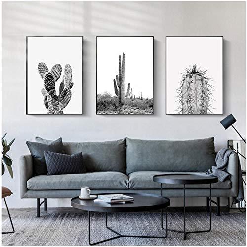 ONEAM Arte Minimalista Moderno de la Pared Cactus suculento Pintura de la Lona Cuadros Verdes Carteles Negros e Impresiones Blancas para la decoración de la Sala de Estar / 40X50Cmx3 Piezas Sin Marco