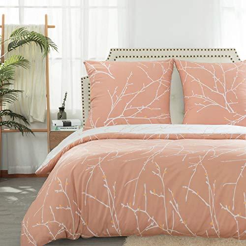 Bedsure Bettwäsche 200x200 cm rosa Bettbezug Set mit Zweige Muster, 3 teilig microfaser Bettwäsche warme& atmungsaktive Bettbezüge mit Reißverschluss und 2 mal 80x80cm Kissenbezug
