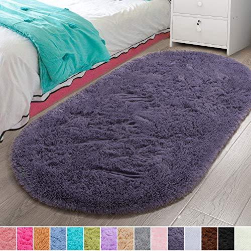 LOCHAS Luxury Velvet Fluffy Carpet Soft Children Rugs Room Mat Modern Shaggy Area Rug for Bedroom Bedside Home Decor 2.6' x 5.3', Grey Purple