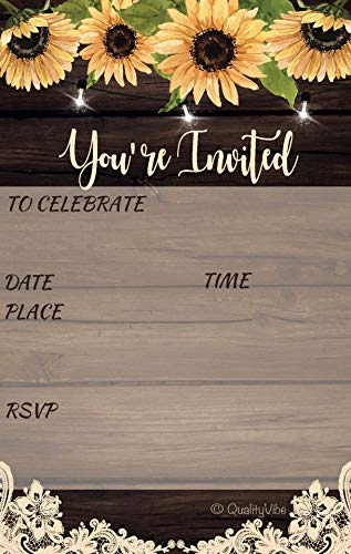 25 Sunflower, Rustic Wood & lace Invitations with 25 Envelopes for Weddings, Bridal Shower, Birthdays, Housewarming, Retirement, engagements and Much More Events.