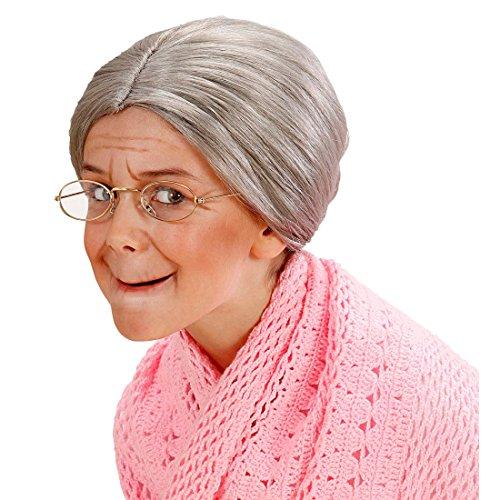 Amakando Perruque Grand-mère pour Enfants Conte de fées Cheveux Bonne-Maman Gris avec Chignon Mamie Veille Mademoiselle Femme sévère Accessoire fête Enfant