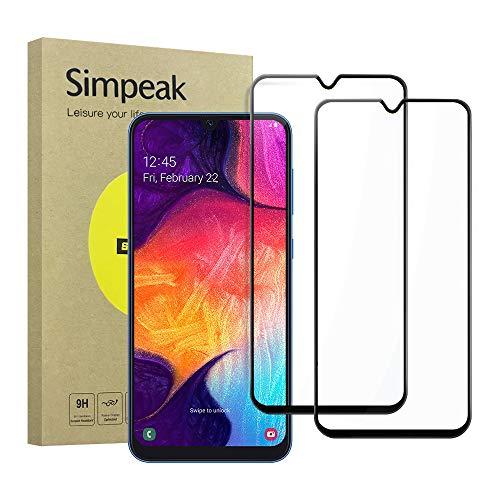 Simpeak 2-Stück Panzerglas Schutzfolie Kompatibel mit Samsung Galaxy A50, Hartglas Tempered Glass Screen Protector Kompatibel für Samsung A50 [9H Härte] [Bubble Free] - Schwarz