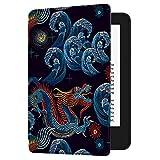 Huasiru Pintura Caso Funda para el Nuevo Kindle (10ª generación - Modelo 2019 - no es aplicable a Kindle Paperwhite o Kindle Oasis) Case Cover, Dragón Negro